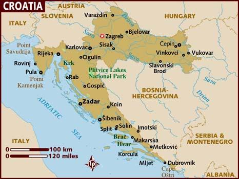 Croatia Mapa del País | Mapa de la Geografía Regional de Ciudades