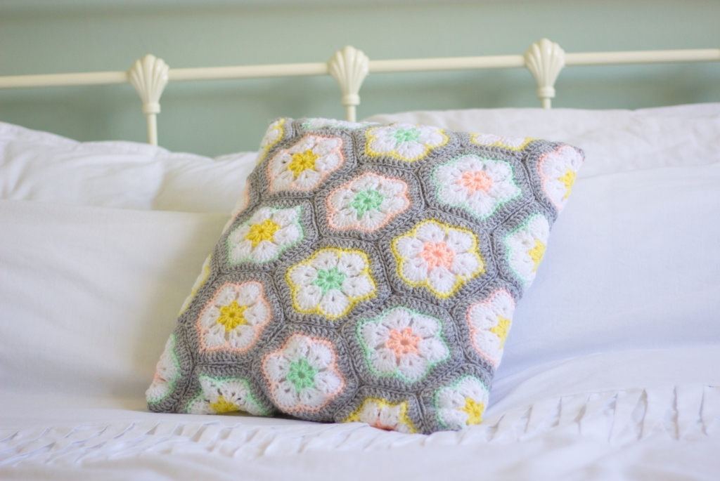 Floral And Feather Crochet African Flower Cushion