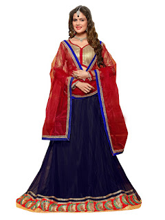 Navy Blue & Maroon Net Lehenga With Brocade Choli