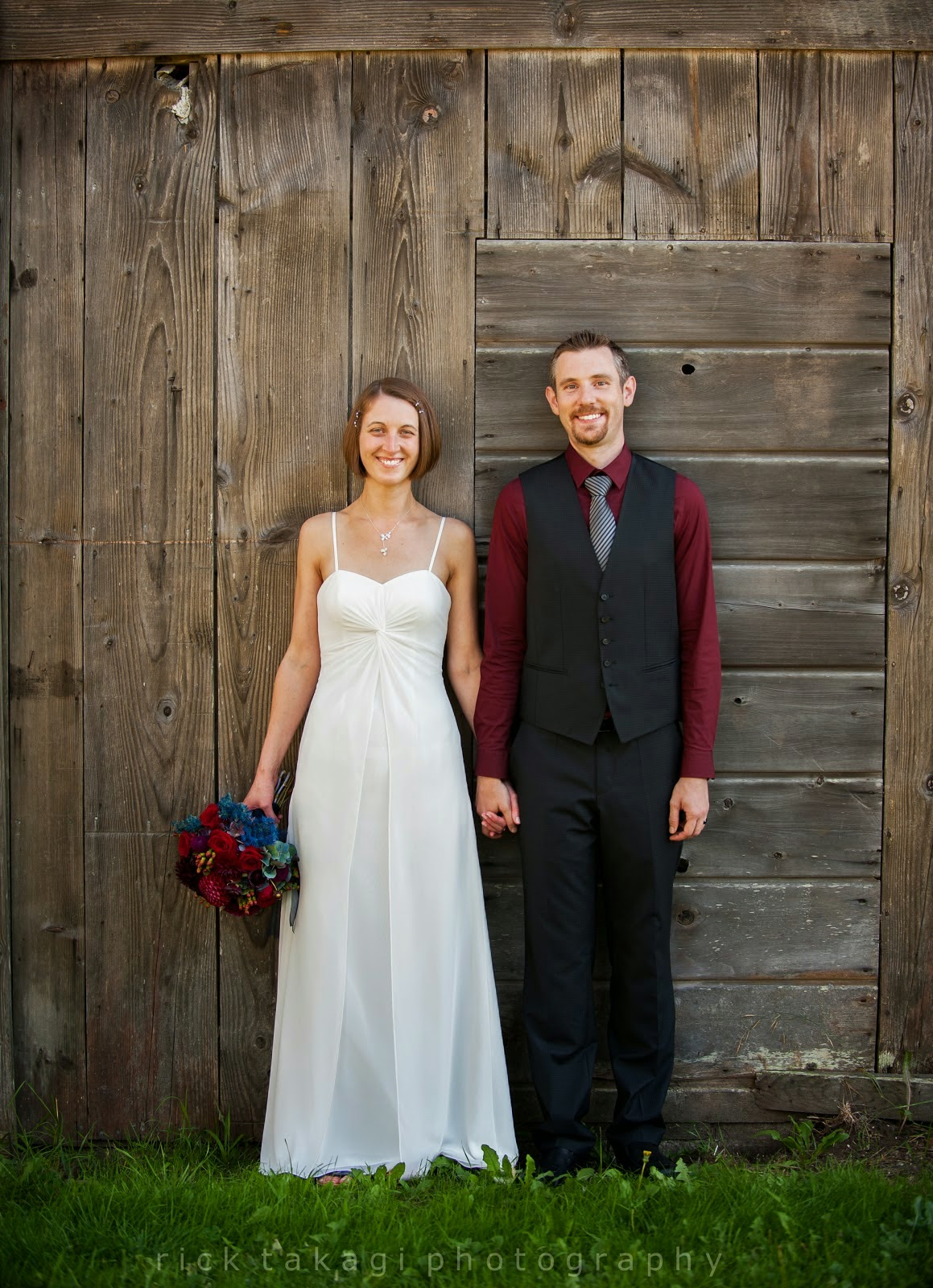 Ashley and Aaron in the wedding outfits - Patricia Stimac, Seattle Wedding Officiant