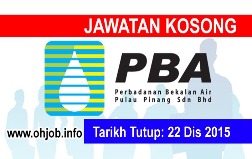 Jawatan Kerja Kosong Perbadanan Bekalan Air Pulau Pinang Sdn Bhd (PBAPP) logo www.ohjob.info disember 2015