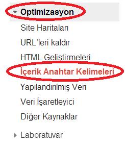 Google Webmaster Tools - İçerik Anahtar Kelimeleri