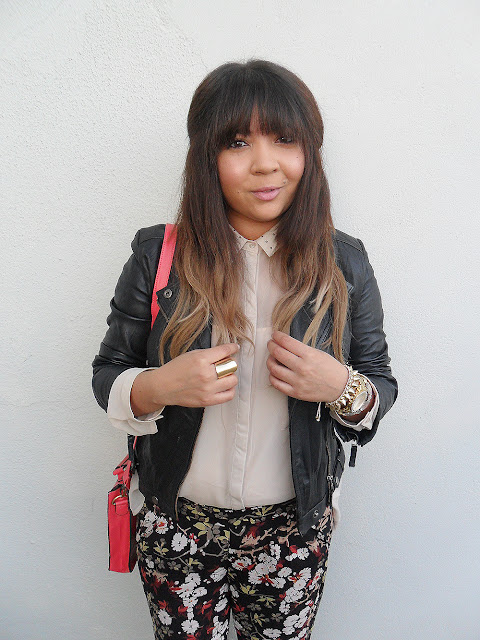 floral pants, ombre hair, pink satchel, aldo wedges, sheer blouse, gold jewellery