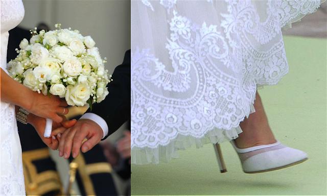 Detalle de ramo y zapatos de novia de Magdalena de Suecia