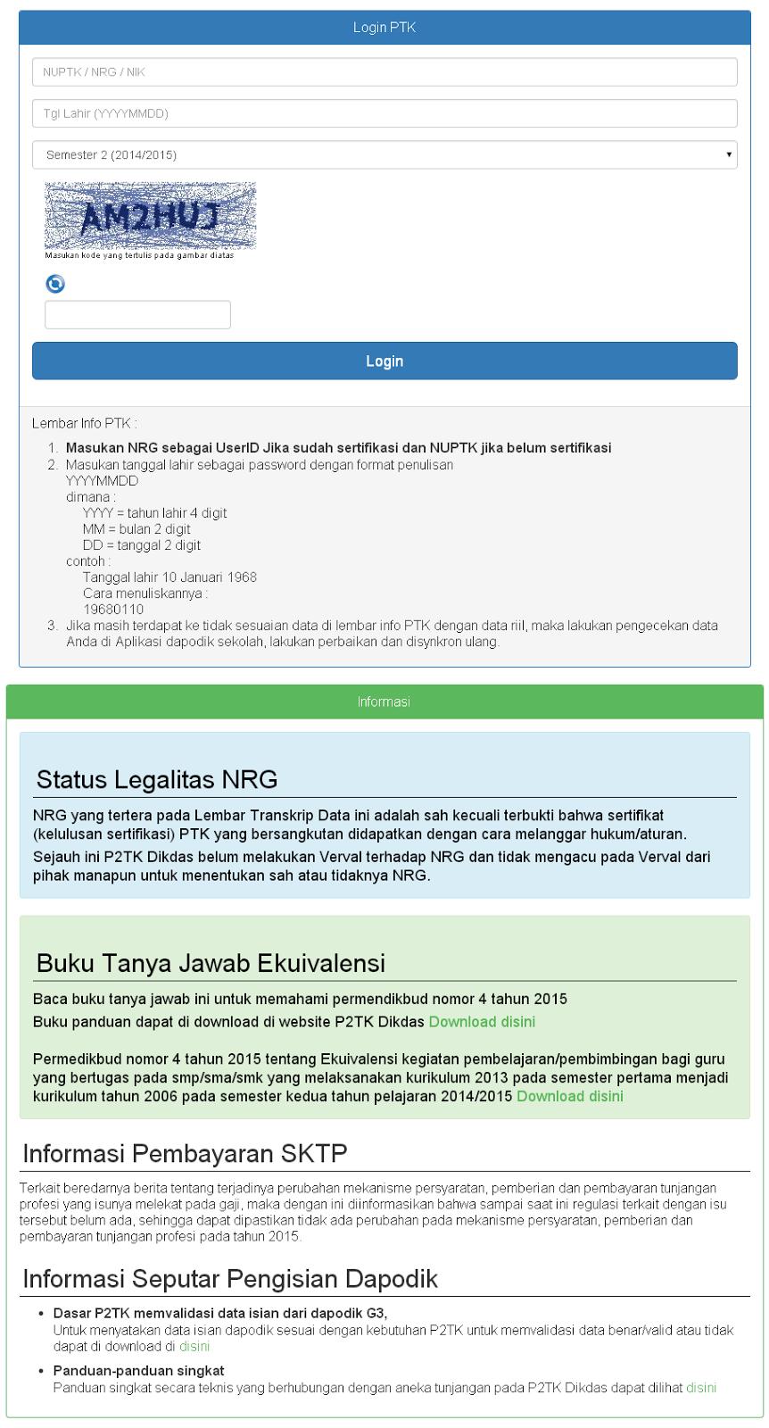 Cek Info PTK 2015