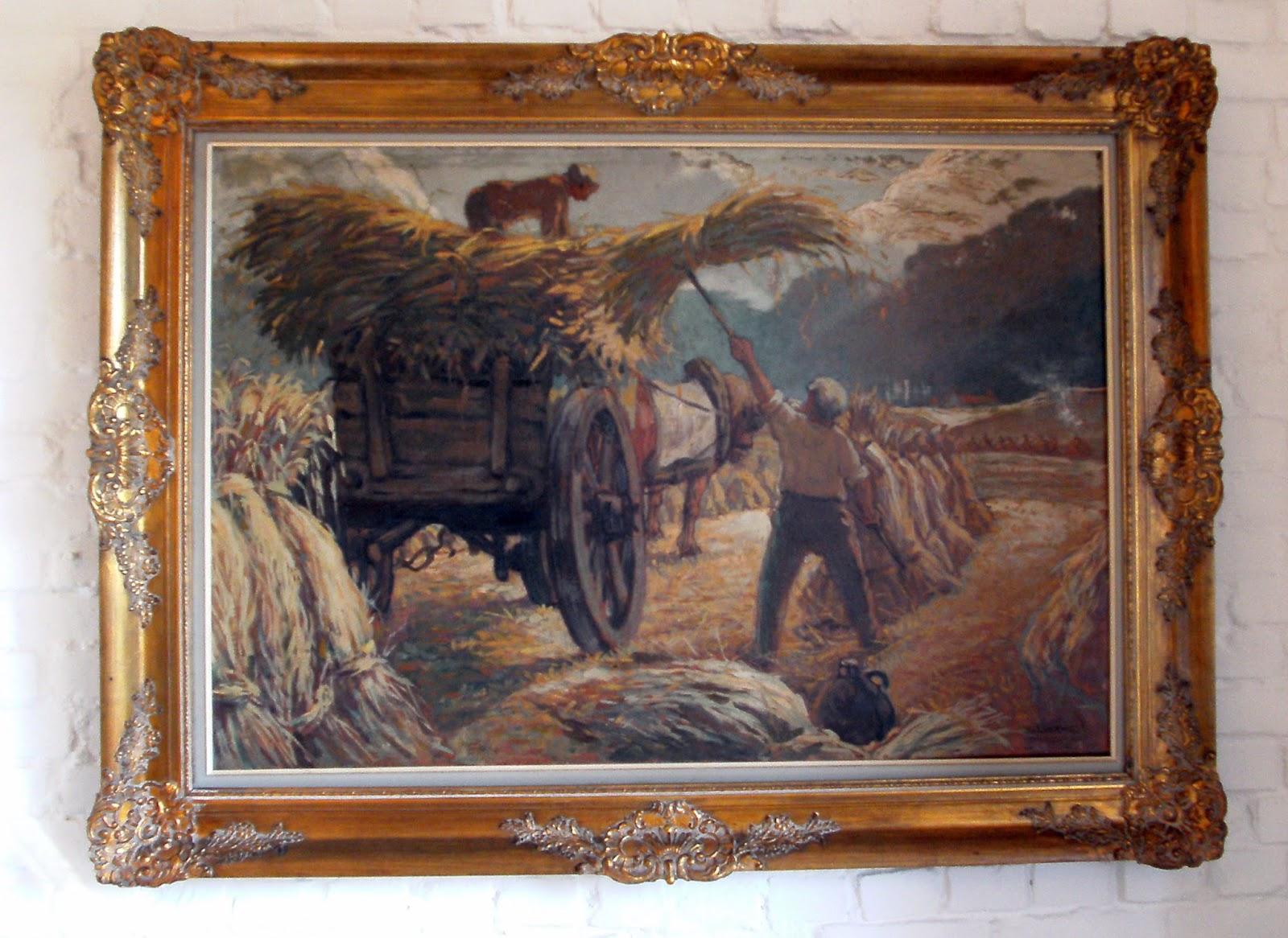 Jules verwest kunstschilder: schilderij met arbeid op de hooiwagen ...