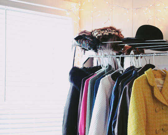 metal clothes rack at home