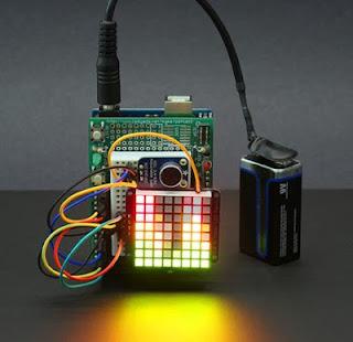 VU meter com matriz de LEDs e Arduino