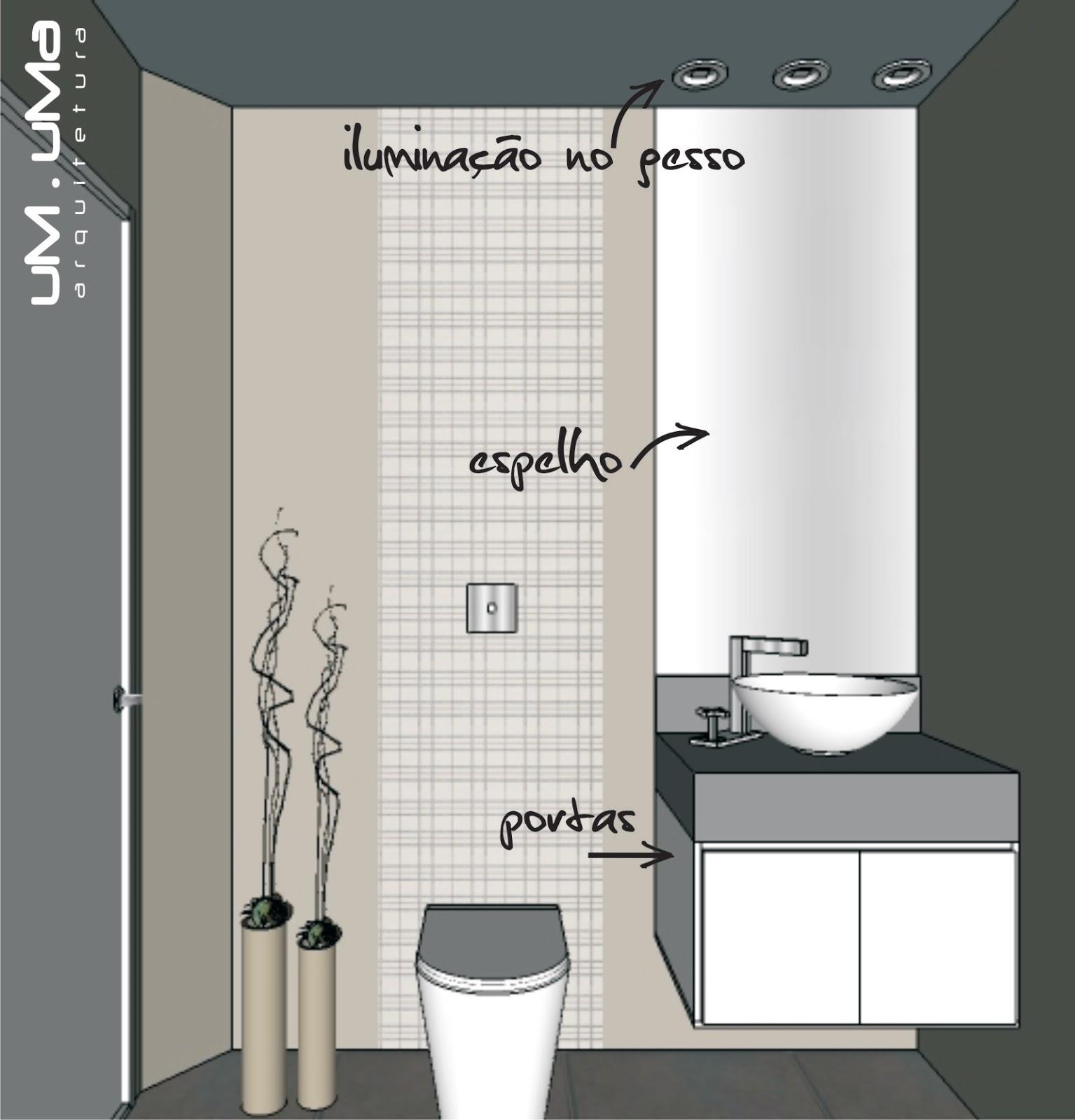 banheiro social espelho bem vertical móvel com duas portas cuba de  #766C55 1535 1600