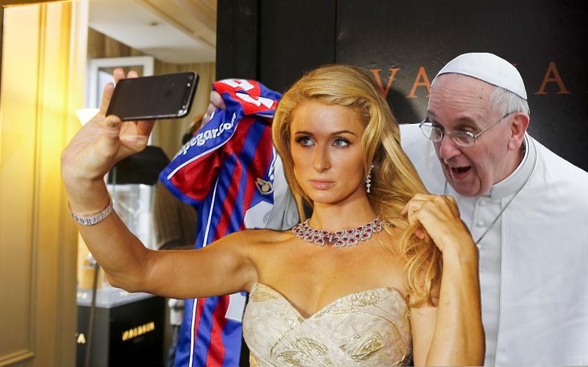 Pope Photobombs Paris Portrait
