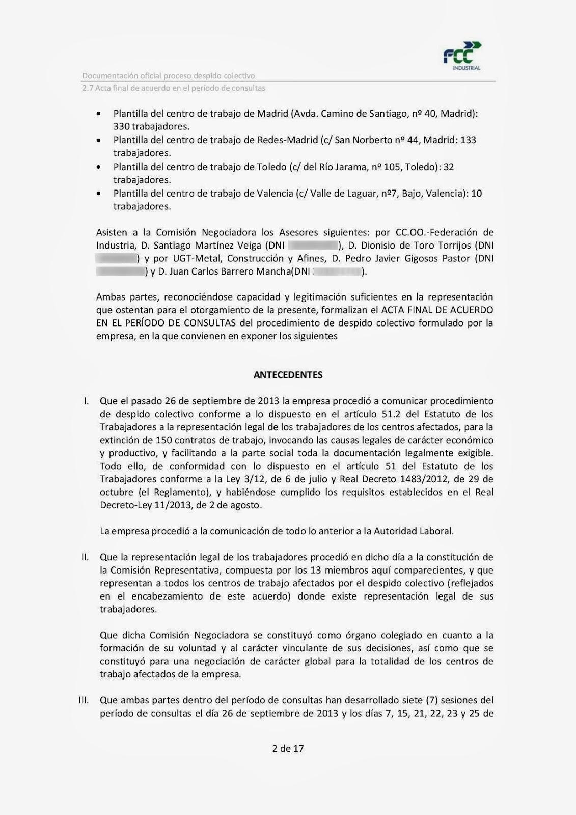 ERE de FCC Servicios Industriales y Energéticos, S.A.: Actas