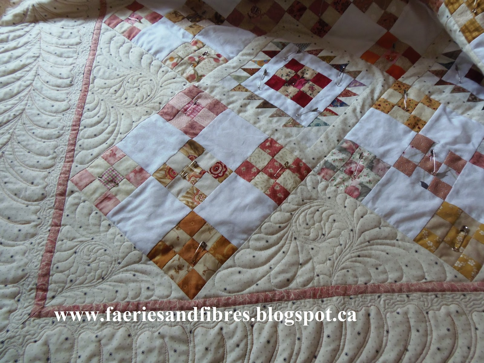 Faeries and Fibres: Quilting the setting triangles on Cherry Blossom and the next steps