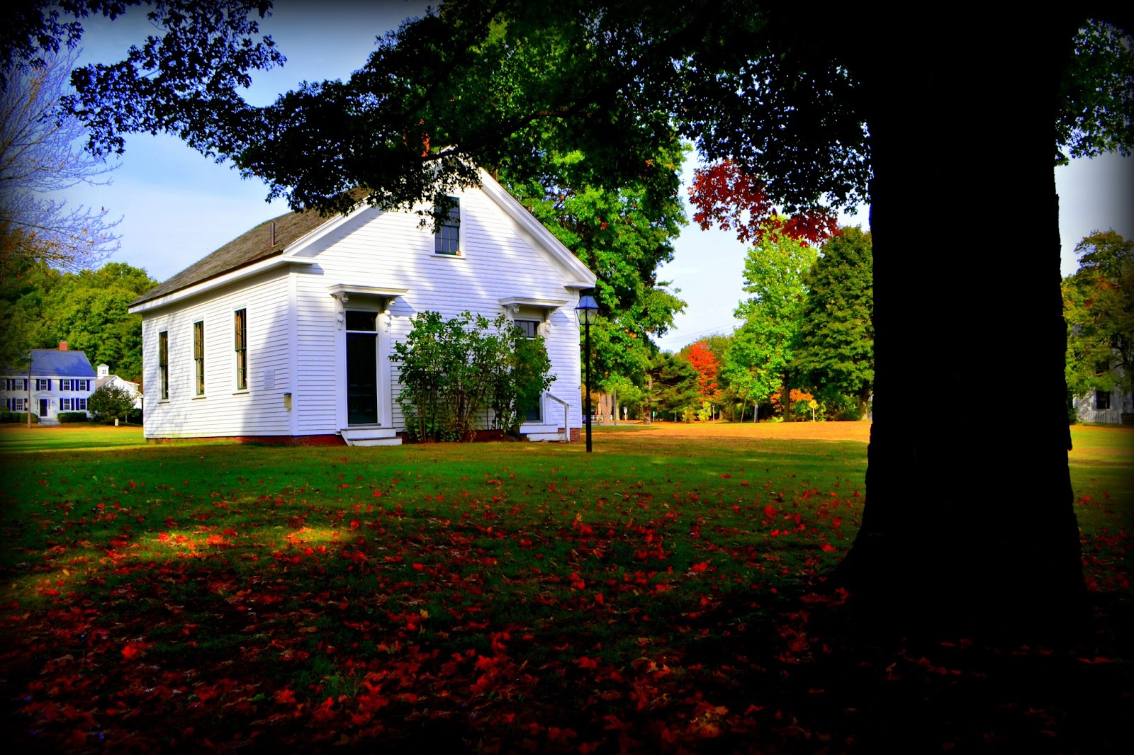 One Room Schoolhouse, Common, Newbury, trees, color, fall, foliage