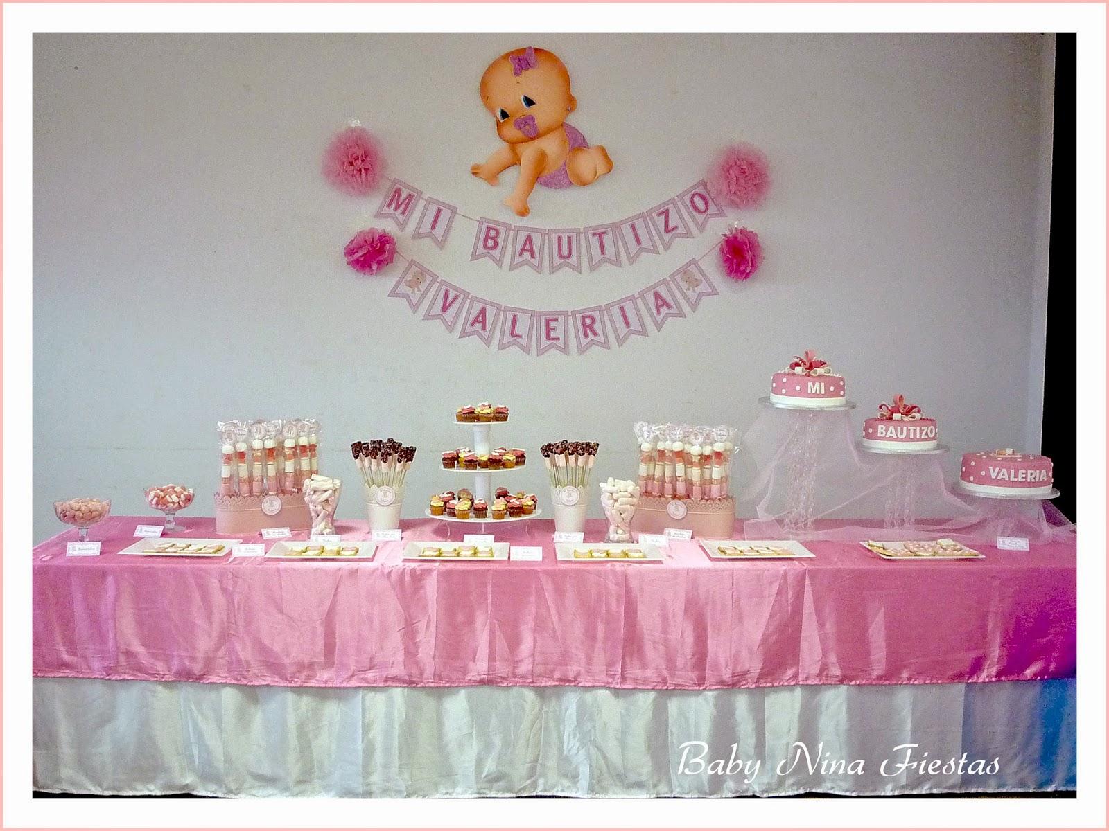 Baby nina fiestas bautizo de valeria for Mesa de dulces para bautizo de nina