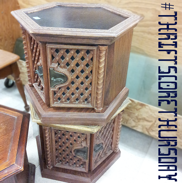 #thriftscorethursday Week 10 Hexagon Side Tables| www.blackandwhiteobsession.com