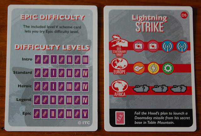Thunderbirds Co-operative board game - making things tougher with scheme cards