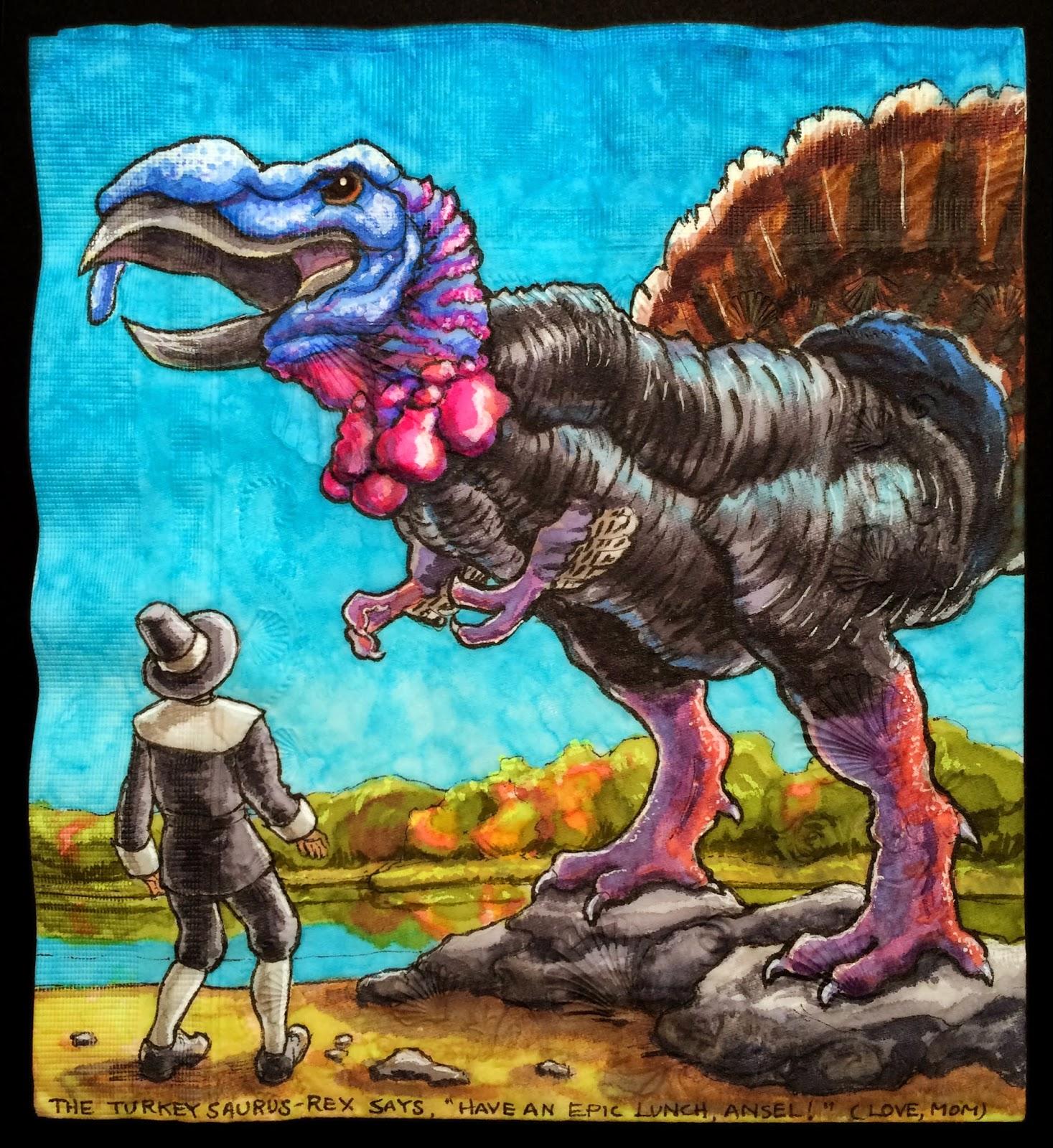 Daily napkins turkeysaurus rex with pilgrim for thanksgiving