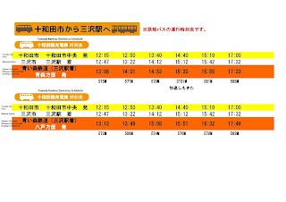 Towada to Misawa Bus Schedule 十和田市から三沢駅へのバス時刻表