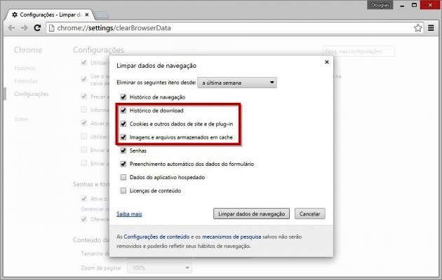 Removendo dados de navegação do Chrome para deixá-lo bem esperto