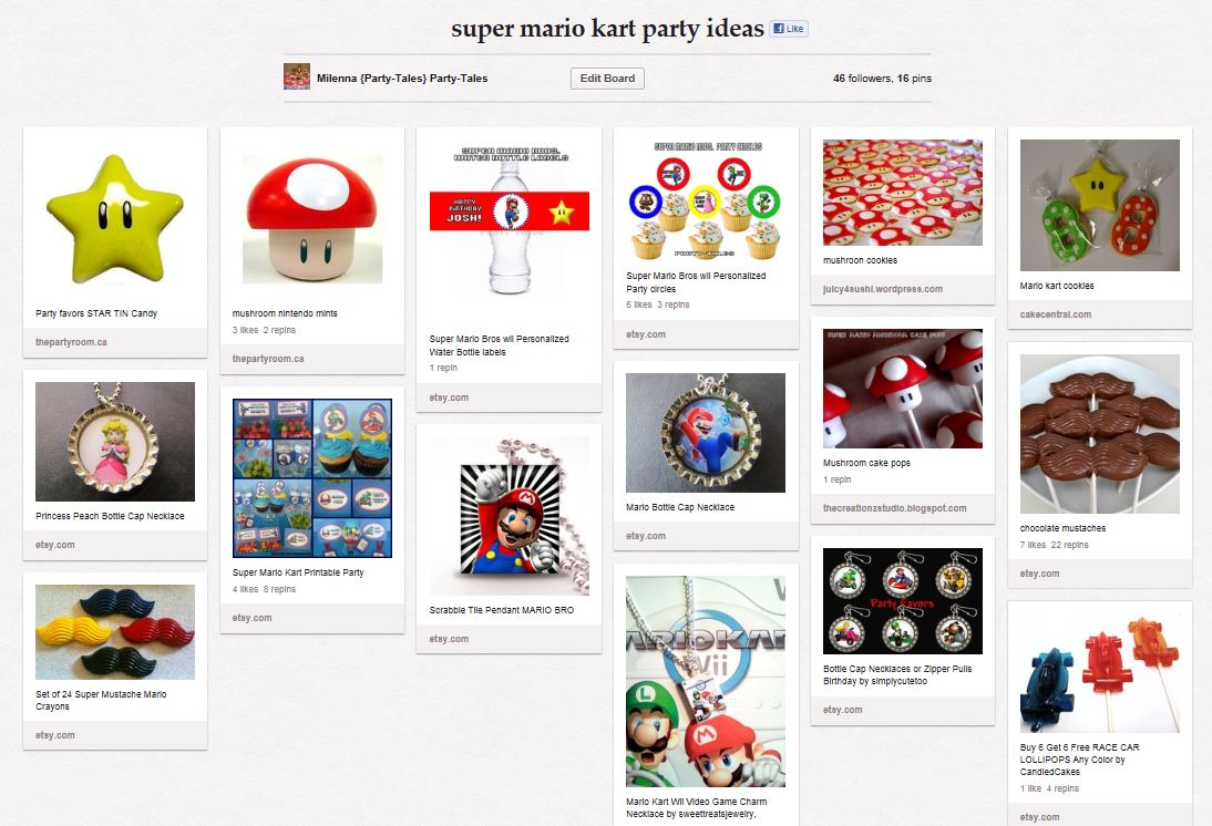 Party-Tales: ~Party Ideas~ Mario Kart wii Party Pinterest Board