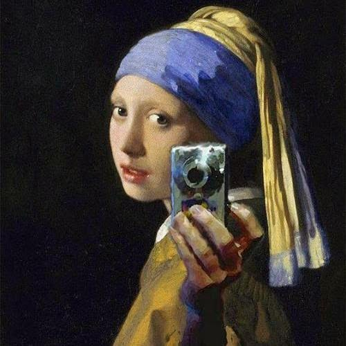 Johannes Vermeer's Girl with a Pearl Earring with a digital camera added in.