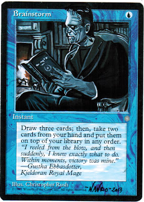 Frankenstein monster altered art magic cards brainstorm Fernando Delgado alters