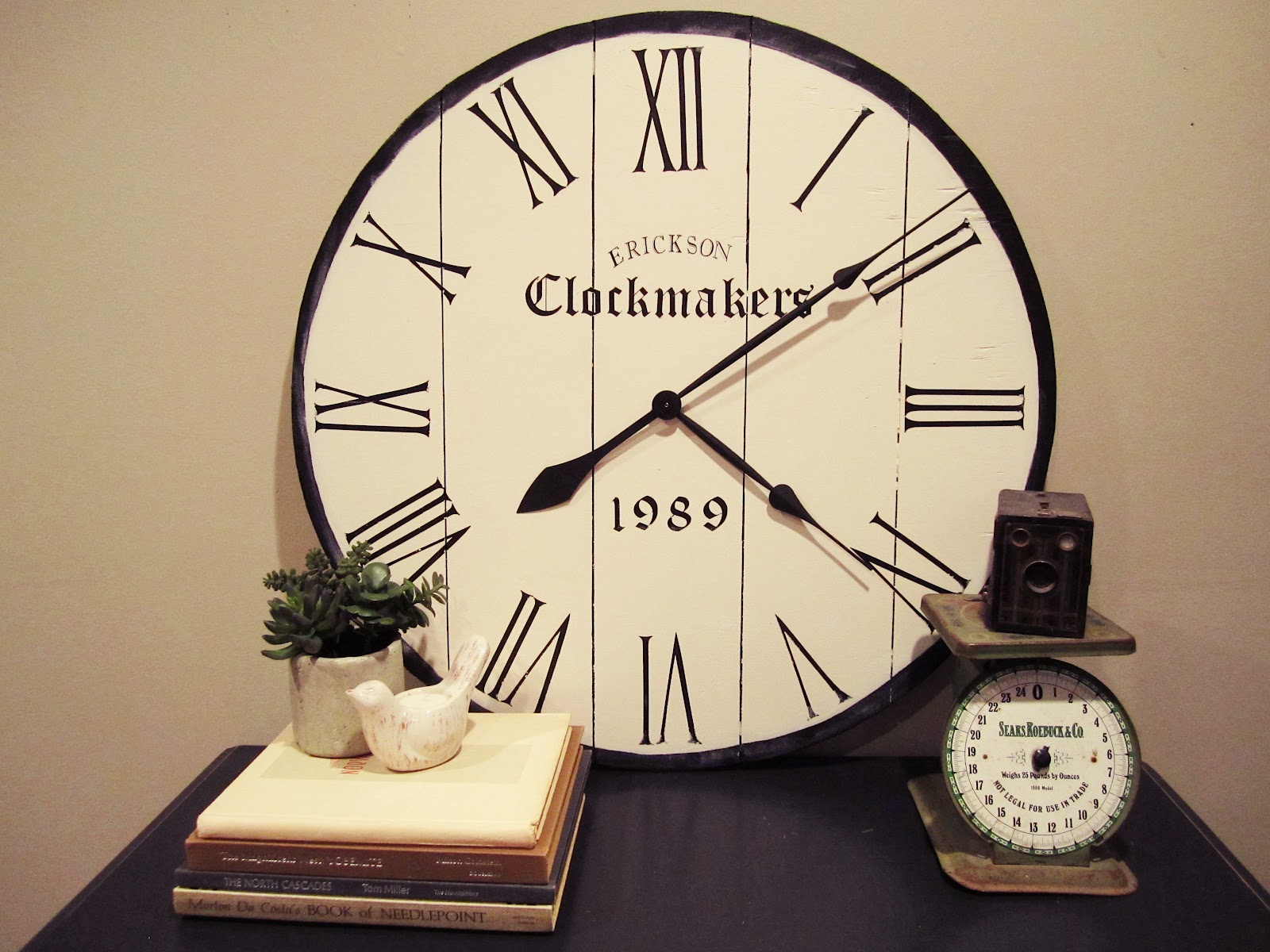 Behind the red barn door large wall clock for Diy clock
