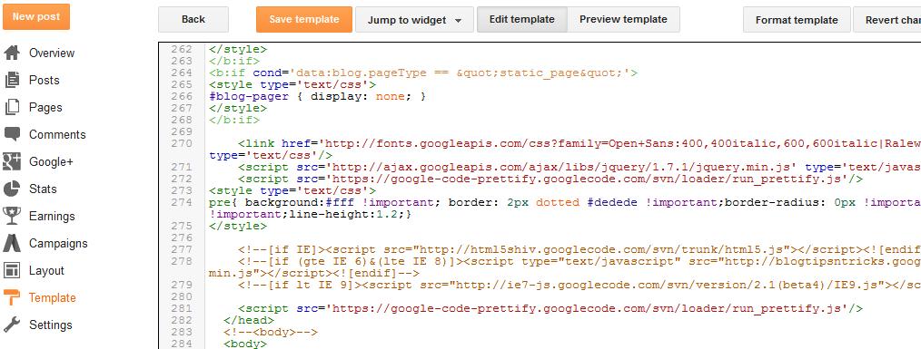 Adding Google Prettifier to Blogger