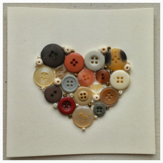 Miss Chaela Boo - Five ideas for crafting with buttons - button heart card