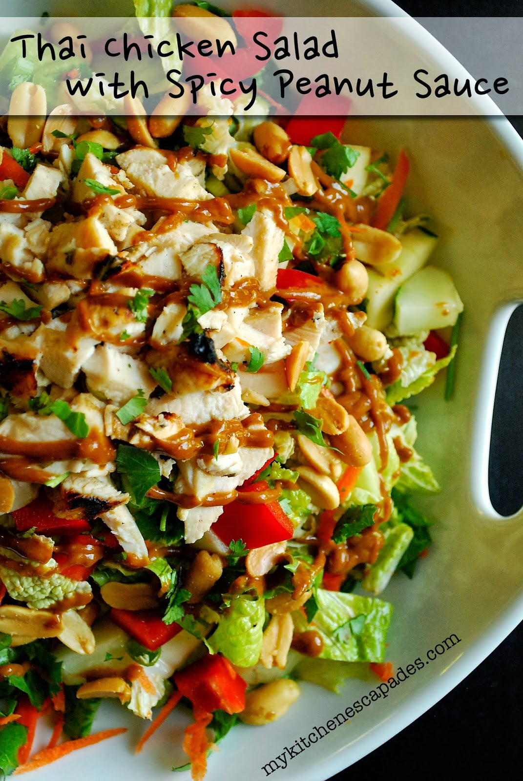 Healthy Thai Chicken Salad With Spicy Thai Peanut Sauce