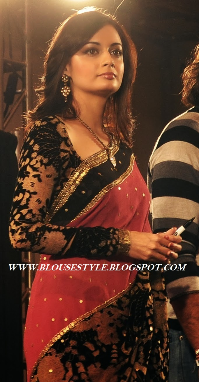 RED WITH BLACK VELVET SAREE