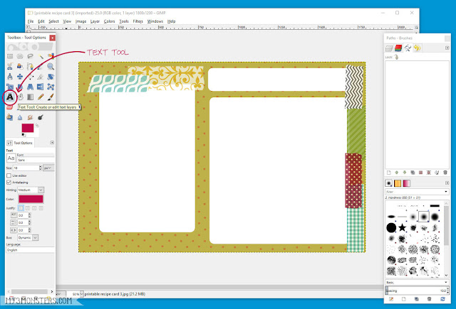 How to add text to an image using Gimp at my3monsters.com