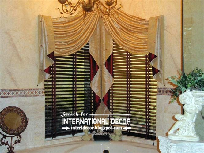 Luxury Swag Curtains Valance For Bathroom Corner Windows, Bathroom Curtains  And Valances
