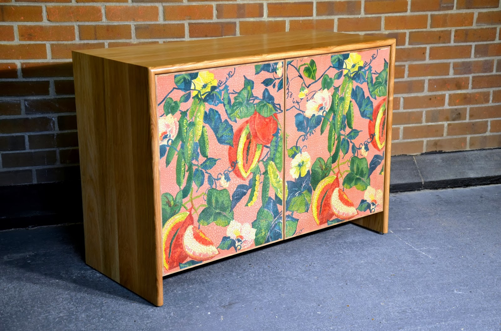 Oak sideboard with Melon and Snap Peas Fabric