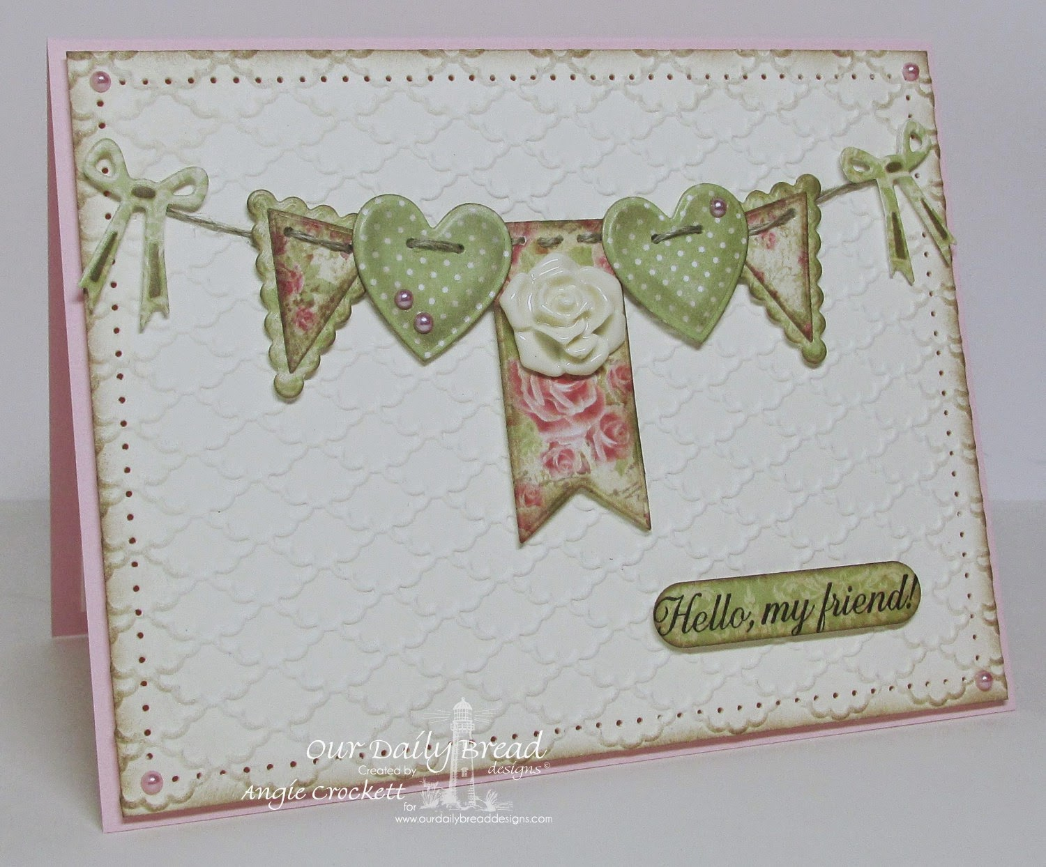 ODBD Ornate Border Sentiments, ODBD Ornate Hearts Die Set, ODBD Pennant Swag Die, ODBD Pennants Die Set, Card Designer Angie Crockett