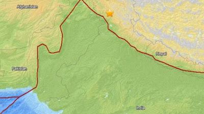 Epicentro sismo 5,4 grados, India, 02 de Agosto 2013