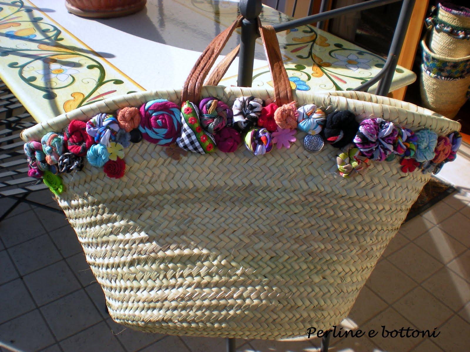 Borse Di Paglia Decorate Alluncinetto : Perline e bottoni borse di paglia