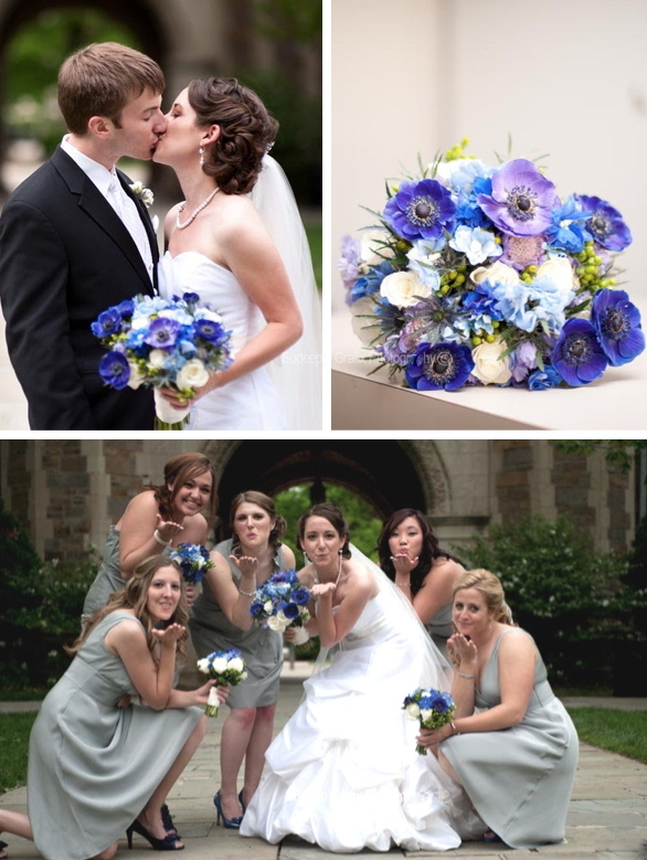 blue brides bouquet, anemone, delphinium, green hypericum berries, thistle, ranunculus, ann arbor, michigan, sweet pea floral design, wedding florist, st. Luke's Lutheran, washtenaw