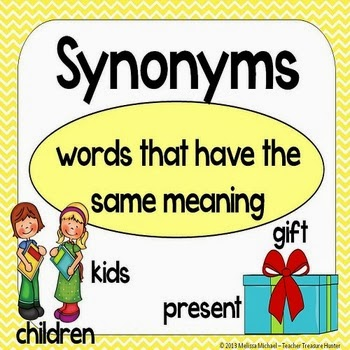 http://www.teacherspayteachers.com/Product/Synonyms-Matching-games-Posters-Bulletin-Board-Set-540157