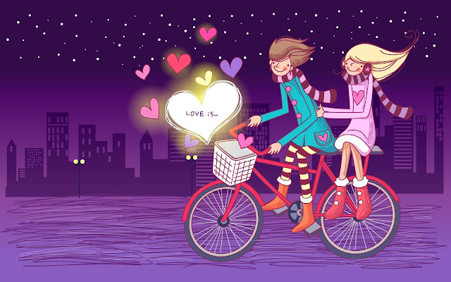 Love Is Couple on Bike Pareja en Bicicleta Love Wallpapers