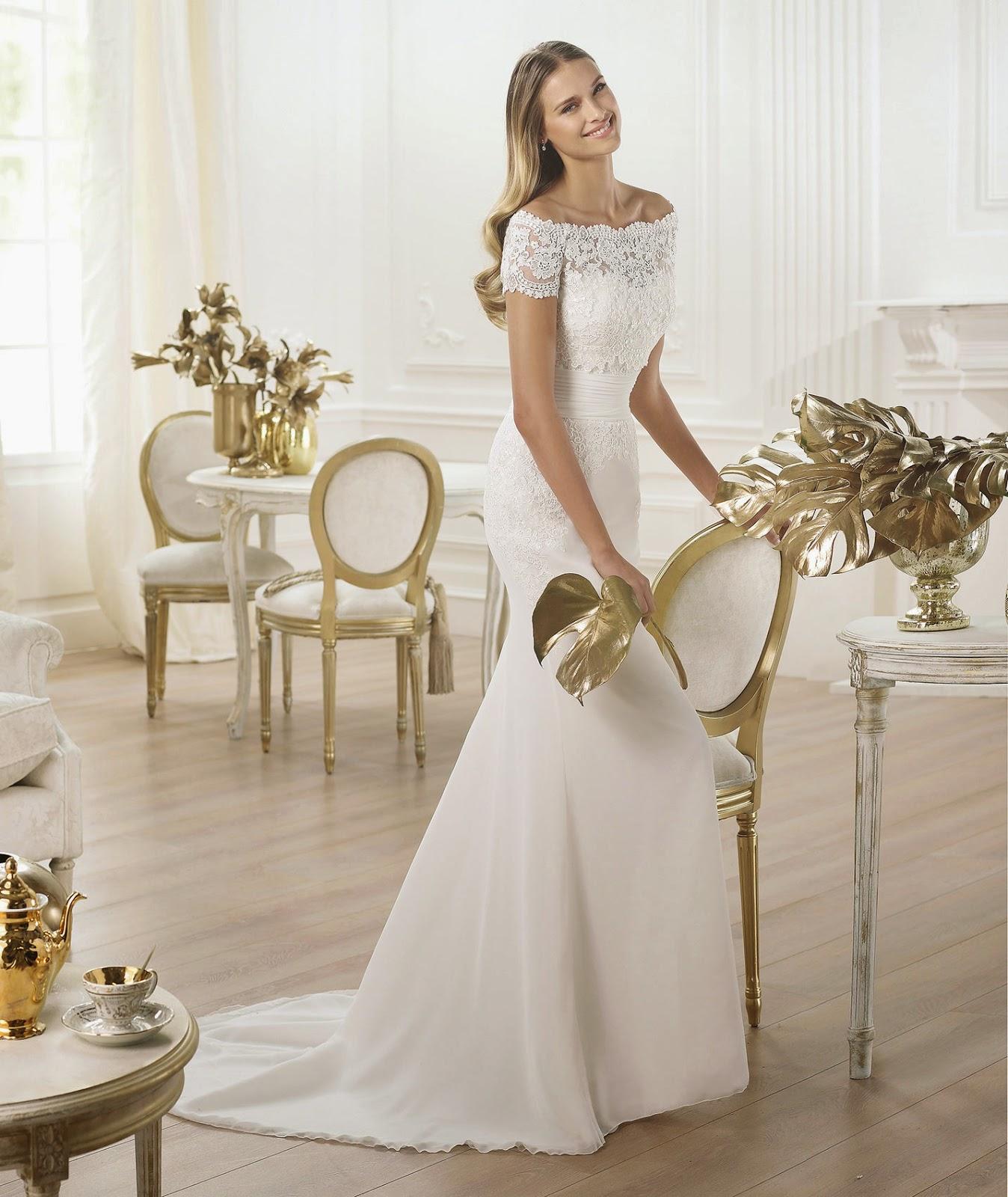Robe mariée Atelier Pronovias 2014 boléro col bateau dentelle wedding dress