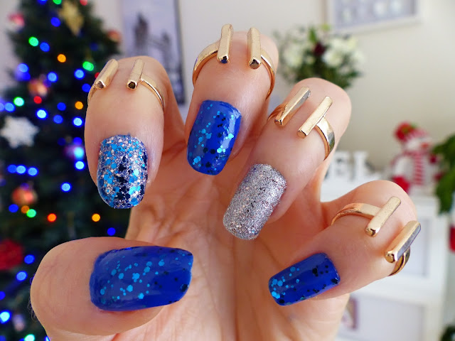Blue, Silver + Glitter - Sylwestrowe Pazurki !