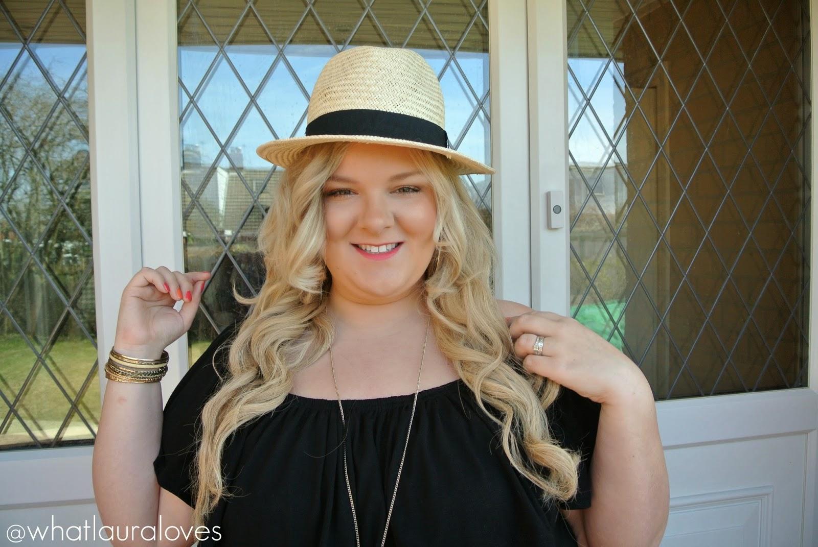 Plus Size Bardot Maxi Dress Straw Fedora Michael Kors Sandals
