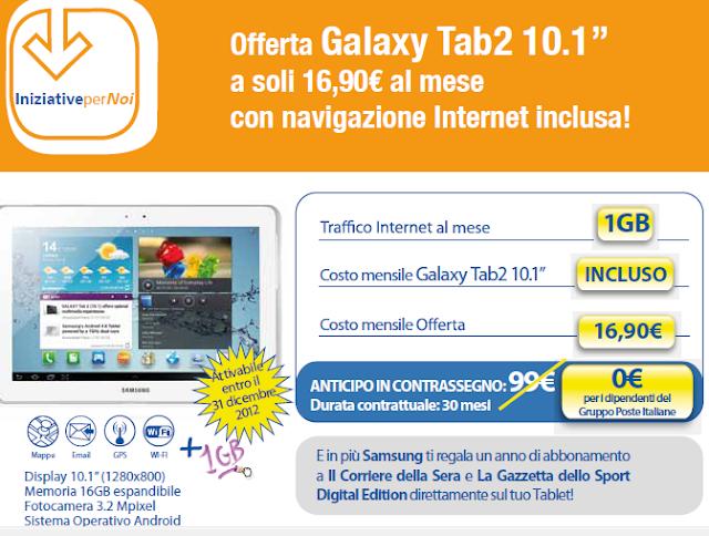 Samsung Galaxy Tab2 10.1'' Promozione PosteMobile