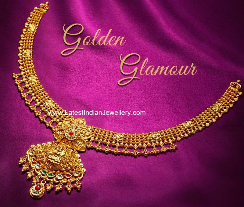 Simple Lakshmi Pendant Gold Necklace