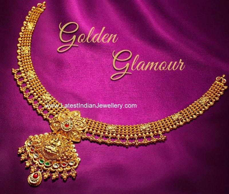 Simple Lakshmi Pendant Gold Necklace