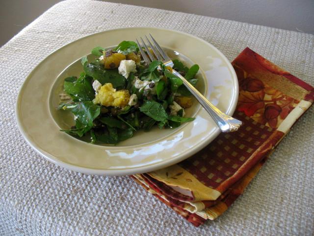 Arugula Salad with Squash and Lentils