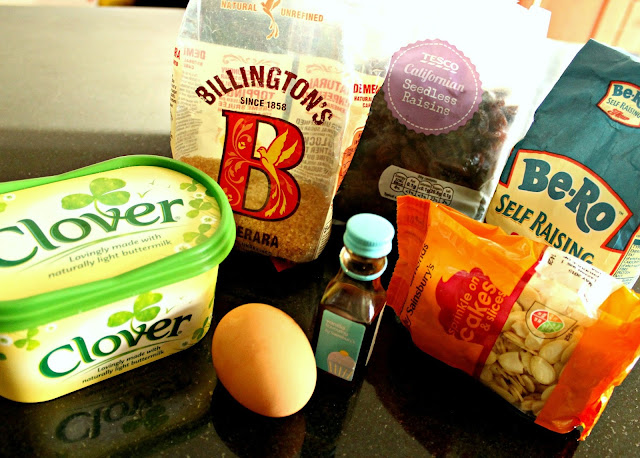A picture of the Almond and Raisin Tea Loaf ingredients
