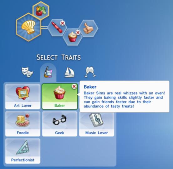 my sims 4 baker trait by cottoncandypixels