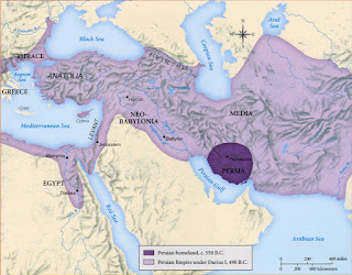 Achaemenid Empire of Persia with Persian homeland shaded